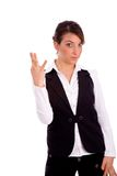 Front view of businesswoman showing fingers Royalty Free Stock Images