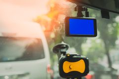 Front view camera for car camcorder on street royalty free stock image