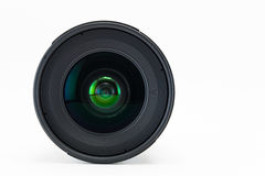 Front view of camera lens on white background Stock Photo