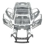 Front view Carcass af a sedan car on white. 3D illustration Stock Images