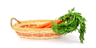 Front View Carrots in Basket Royalty Free Stock Image