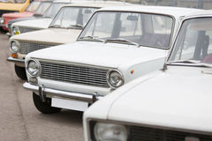 Front view on cars in Exhibition of Soviet vintage cars Stock Image