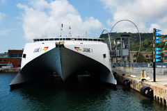 Front view of Catamaran ferry at Port Vell Stock Image