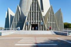 Front view of Catedral Basilica Menor Nossa Senhora da Gloria in. Maringa, Brazil - July 23, 2017: Front view of Catedral Basilica Menor Nossa Senhora da Gloria royalty free stock photos
