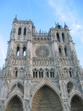 Front view of the cathedral. With blue sky - Amiens - France Royalty Free Stock Photo