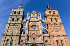 Front view of the cathedral of Astorga Stock Photos
