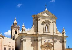 Victoria Cathedral, Gozo. Front view of the Cathedral within the citadel in Cathedral Square, Victoria Rabat, Gozo, Malta, Europe Royalty Free Stock Photos