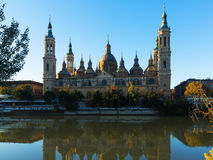 Front view of Cathedral of Our Lady of the Pillar. Zaragoza Royalty Free Stock Images