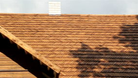 Front view of the the cedar wooden shingle roof of the house shake stock video