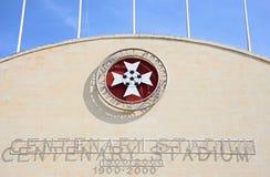 Centenary Stadium, Malta. Front view of the Centenary Stadium name and emblem, Attard, Malta, Europe Royalty Free Stock Photography