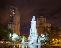 Front view of Cervantes Monument in Spain Square Royalty Free Stock Photo