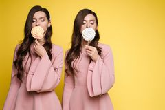 Charming twins closing eyes with lollipops and posing. Front view of charming twins in pink dresses closing eyes with lollipops and posing on isolated background stock image