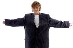 Front view of cheerful boy in a big suit Royalty Free Stock Images