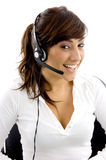 Front view of cheerful service provider Stock Image