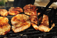 Front view of a chicken breast on a grill. Front view of a  cooking chicken breast on a grill Stock Photo