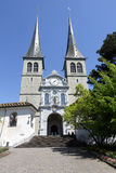 The front view of the Church of St. Leodegar Royalty Free Stock Photography