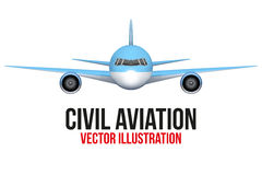 Front view of Civil Aircraft. Vector Illustration  on background Stock Images