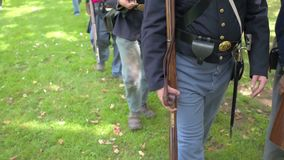 Front view of Civil War soldiers marching stock video