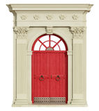 Front view of a classic arch with red door Royalty Free Stock Photo