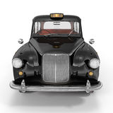 Front view Classic black British taxi on white. 3D illustration Stock Photography