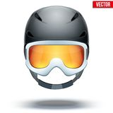 Front view of Classic black Ski helmet and Stock Images