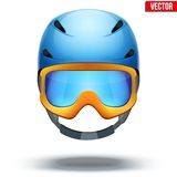 Front view of Classic blue Ski helmet and orange Stock Image