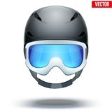 Front view of Classic blue Ski helmet and orange Stock Photography