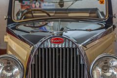 Front view of a classic car, Bugatti 57 Stelvio in exhibition on Caramulo Car Museum, in Portugal stock photo
