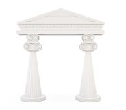 Front view of a classic entrance with columns  on white Royalty Free Stock Image