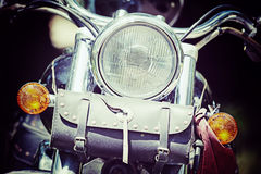 Front view of a classic motorcycle in vintage tone Stock Image