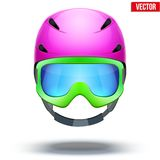 Front view of Classic pink Ski helmet and green Royalty Free Stock Photos
