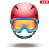 Front view of Classic red Ski helmet and blue Royalty Free Stock Photography