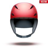 Front view of Classic red Ski helmet. Vector Stock Photo