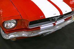 Front view of Classic retro Ford Mustang GT.Car exterior details. Headlight of a retro car Stock Photography
