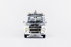 Front view of classic vintage police car, scale model. Royalty Free Stock Images