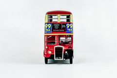 Front view of classic vintage red London bus. royalty free stock photography