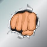Front view of clenched fist hand. Front view of clenched fist hand . Revolt concept. Punch, strong, strike illustration. EPS10 Stock Image