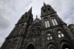 Front View of Clermont-Ferrand Cathedral Royalty Free Stock Photography