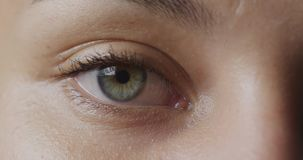 Blinking green eye. Front view close up detail of the green eye of a woman looking straight camera and blinking stock footage