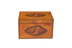 Front View of a Closed Antique Wooden Tea Twin Caddy Stock Photos