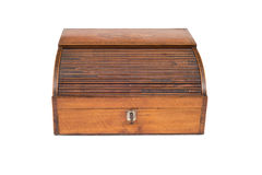 Front View of a Closed Vintage Wooden Cash Register Drawer Stock Photo