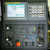 Front view on cnc milling machine control panel Royalty Free Stock Photography