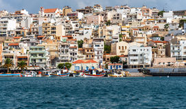Front view at coastline of Sitia town on Crete island, Grecee Royalty Free Stock Images