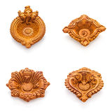 Front view Collage of beautiful designer clay lamps. Royalty Free Stock Photos