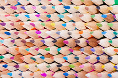 Front view of colored wooden pencils Stock Images