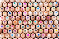 Front view of colored wooden pencils Stock Photos