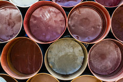 Front view of colorful oil tank. Stock Photos