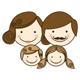 front view colorful silhouette cartoon family faces Stock Images