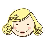 Front view colorful silhouette cartoon woman face with blond hair Royalty Free Stock Photography