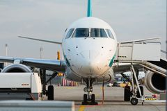 Front view of commercial jet plane on the runway. Front view of commercial jet plane on the runway at the airport royalty free stock image